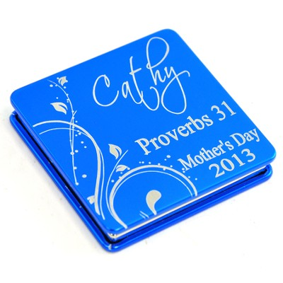 Personalized, Mother's Day Aluminum Compact Mirror, Proverbs 31, Blue  -