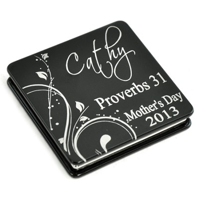 Personalized, Mother's Day Aluminum Compact Mirror, Proverbs 31, Black  -