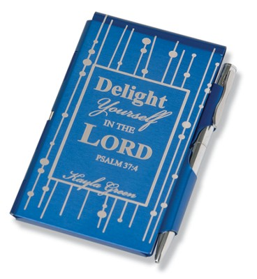 Personalized, Delight in the Lord Metal Memo Pad, Blue   -