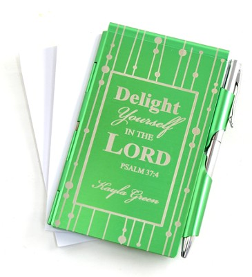 Personalized, Delight in the Lord Metal Memo Pad, Green   -