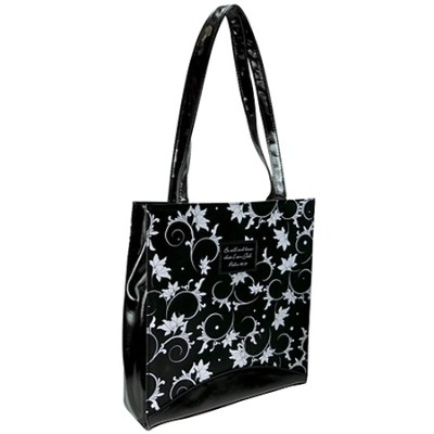 Floral Tote, Black and White  -