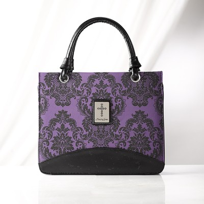 Paisley Purse Style Bible Cover with Cross, Purple, Medium  -