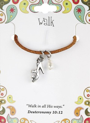 Walk Leather Necklace, High Heel Charm   -