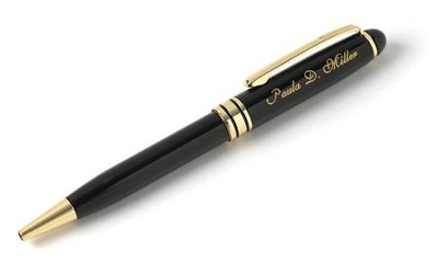 Personalized, Brass Black Pen with Name   -