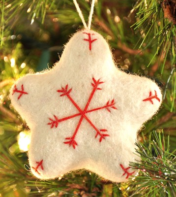 Snowflake Star Ornament, White, Fair Trade Product  -