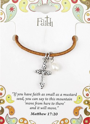 Faith Leather Necklace, Cross Charm, Matthew 17:20   -