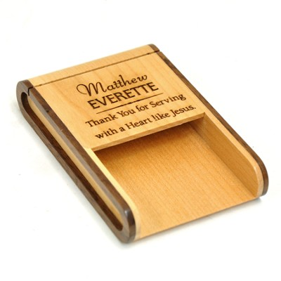 Personalized, Wooden Business Card Holder, Thank You For Serving With A Heart Like Jesus  -