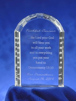 Personalized, Faithful Servant, Crystal Tablet Plaque   -