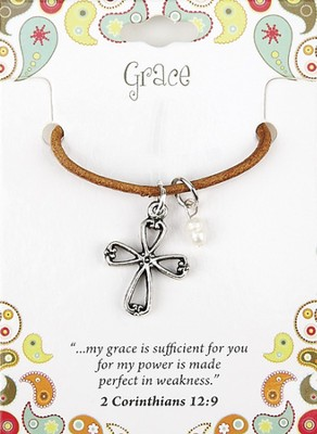 Grace Leather Necklace, Cross Charm, II Corinthians 12: 9  -