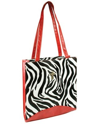 Tote with Cross, Zebra Print  -