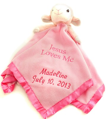 Personalized, Pink Lamb Plush Blanket, Jesus Loves Me   -