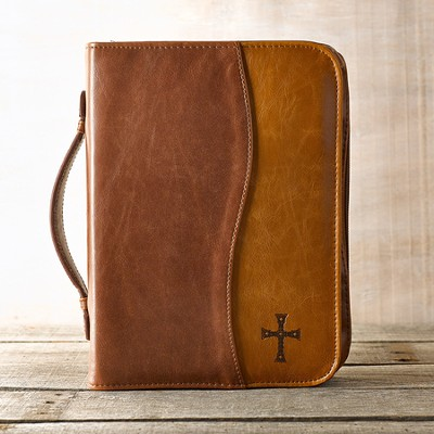 Two-tone Bible Cover with Cross, Brown and Tan, Large  -