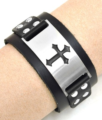 Leather wristband with Cross, Black  -