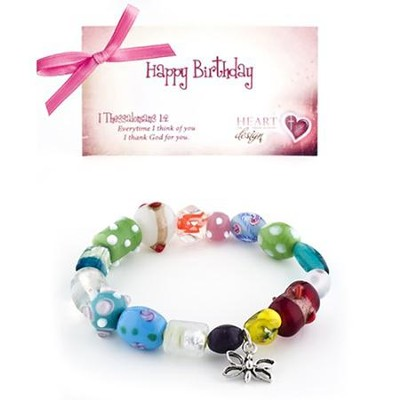Happy Birthday Bracelet, Butterfly Charm   -