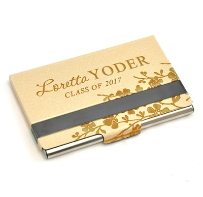 Personalized, Metal Business Card Holder, Graduation, Gold  -