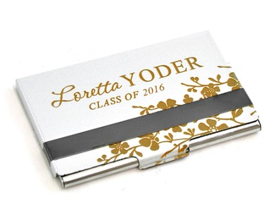 Personalized, Metal Business Card Holder, Graduation,  Silver  -