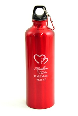 Personalized, Two Hearts Water Bottle, Red   -