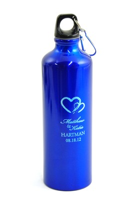 Personalized, Two Hearts Water Bottle, Blue   -