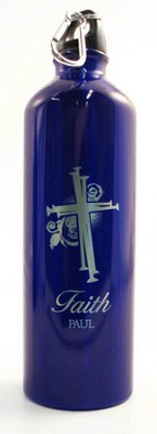 Personalized Nail Cross Water Bottle, Blue   -