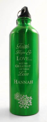 Personalized Love Water Bottle, Green   -