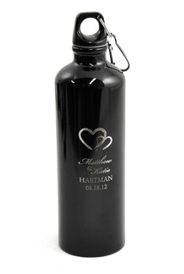 Personalized, Two Hearts Water Bottle, Black   -