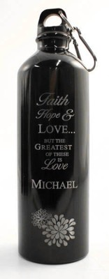 Personalized Love Water Bottle, Black   -