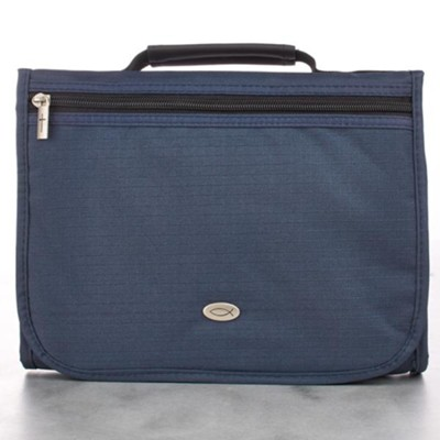 Polyester Three fold Bible Cover, Navy, Large   -