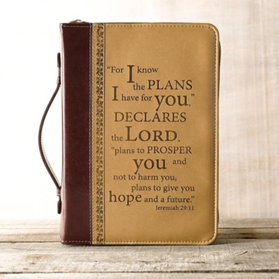 LuxLeather I Know the Plans Bible Cover, Large   -