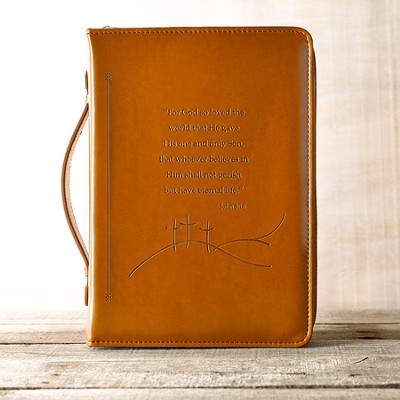 LuxLeather John 3:16 Bible Cover, Tan, Large   -