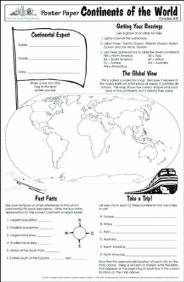 Poster Paper: Continents of the World, Grades 4-8  (Pack of 30)  -