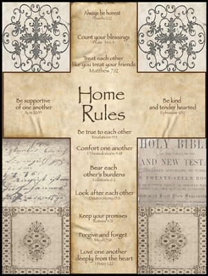 Home Rules Cross Mounted Print  -     By: Lisa Wolk