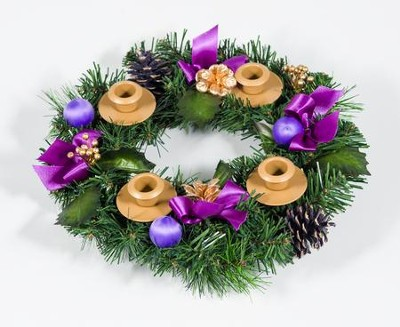 Purple Ribbon Advent Wreath  -