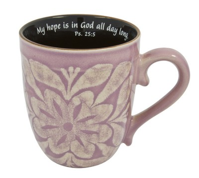 My Hope Is In God Mug, Psalm 25:5, Lilac  -