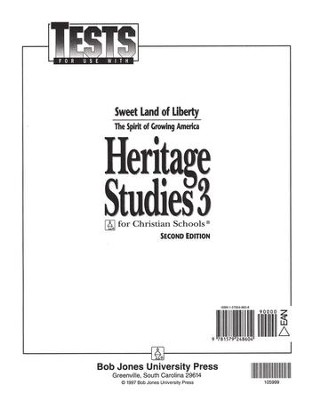 BJU Heritage Studies Grade 3, Tests    -
