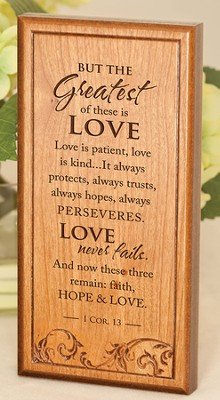 1 Corinthians 13 Engraved Wooden Plaque   -