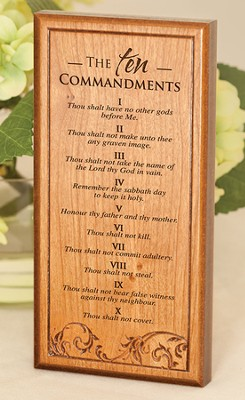 The Ten Commandments, Engraved Wood Plaque   -