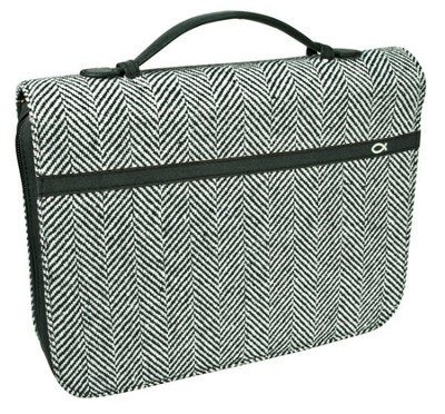 Tweed with Fish Bible Cover, Black and White, Large  -