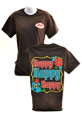 Happy Happy Happy Shirt, Brown,  Medium  -