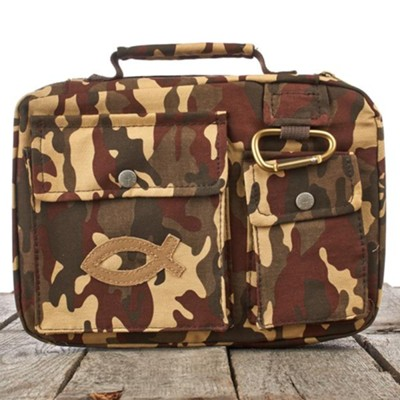 Camouflage with Fish Emblem Bible Cover, Medium  -