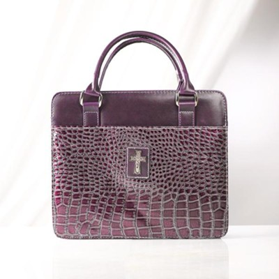 Croc-Embossed Purse Style Bible Cover, Purple, Large  -