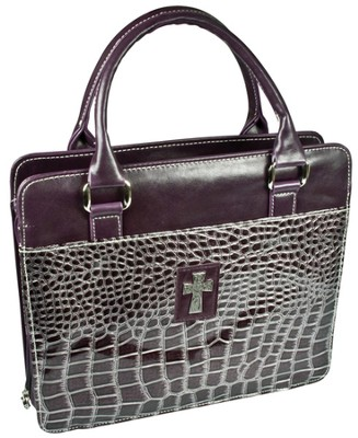 Croc-Embossed Purse Style Bible Cover, Purple, Medium  -