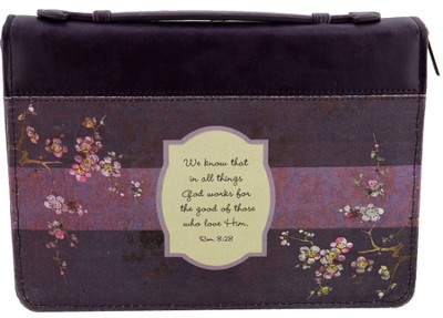 We Know That All Things Bible Cover, Purple, Medium  -