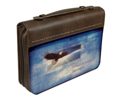 Soar on Wings Like Eagles Bible Cover, Brown, Large  -