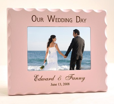 Personalized, Our Wedding Day Photo Frame- Pink   -