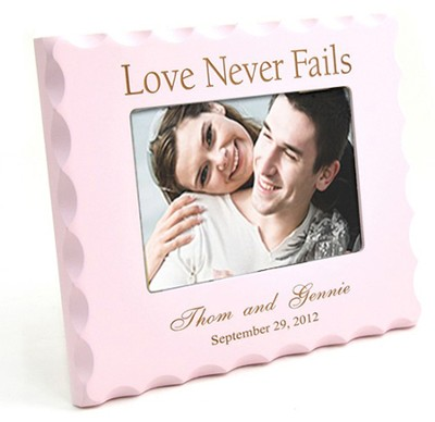 Personalized, Love Never Fails, Pink Photo Frame  -