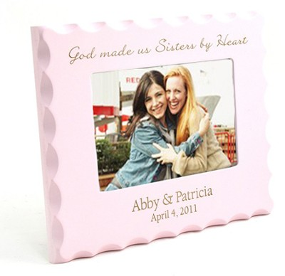 Personalized, Sisters By Heart, Pink Photo Frame  -