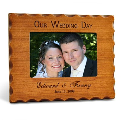 Personalized, Our Wedding Day Photo Frame - Natural   -
