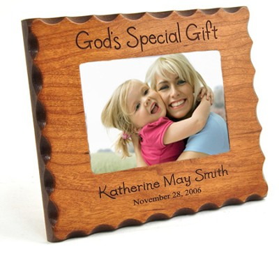 Personalized, God's Special Gift, Natural Wood Photo Frame  -