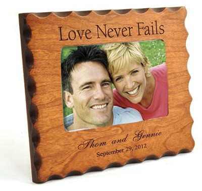 Personalized, Love Never Fails, Natural Wood Photo Frame  -