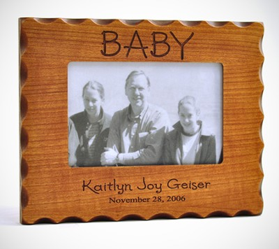 Personalized, Baby Photo Frame for 4X6, Natural Wood   -
